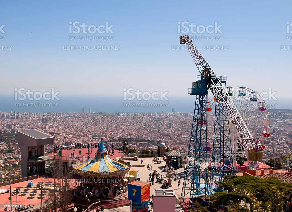 park of attractions at Tibidabo, Barcelona, Spain stock photo
