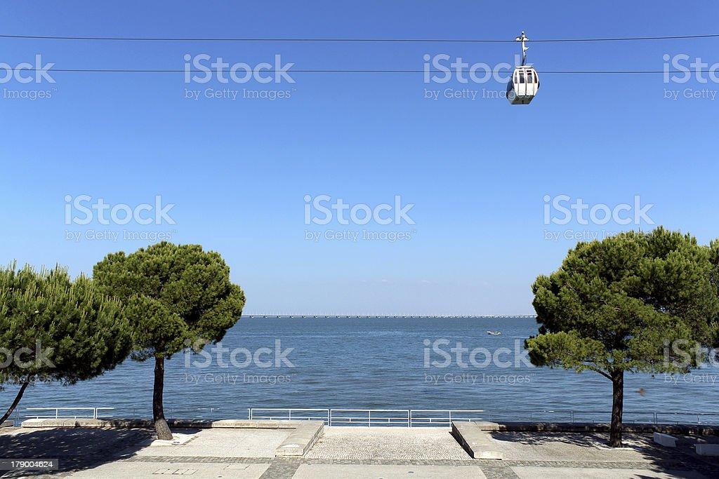 Parque das Na??es (place of Expo 98) cablecar. Lisbon, Portugal. royalty-free stock photo