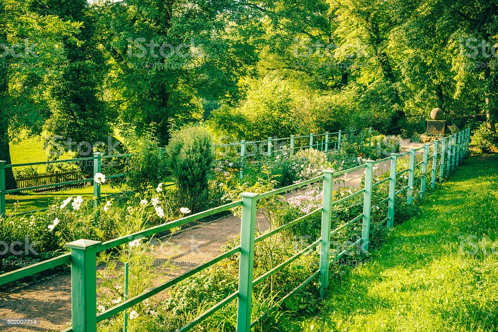 Park Path with Flowers stock photo