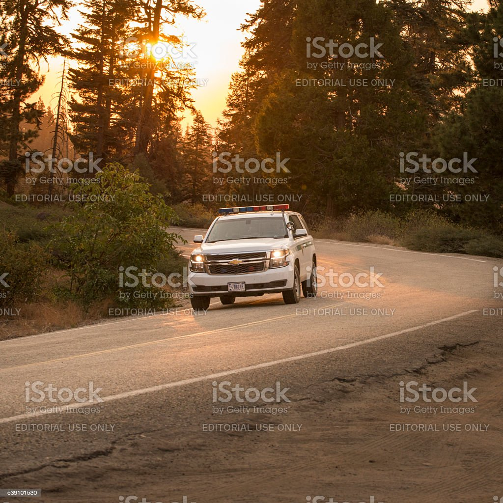 NPS Park Ranger car on the road royalty-free stock photo