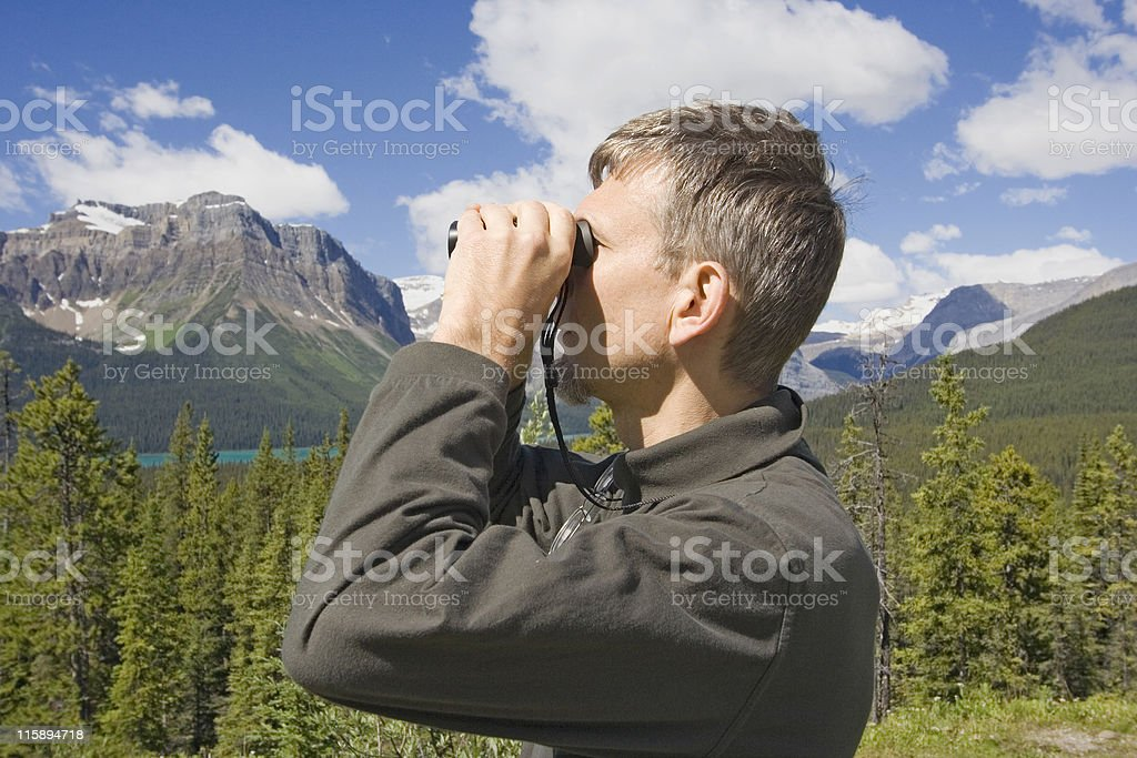 park ranger in the rockies, canada stock photo
