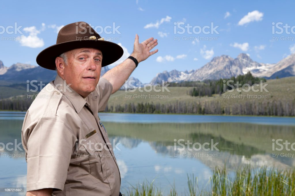 Park Ranger showing the great outdoors stock photo