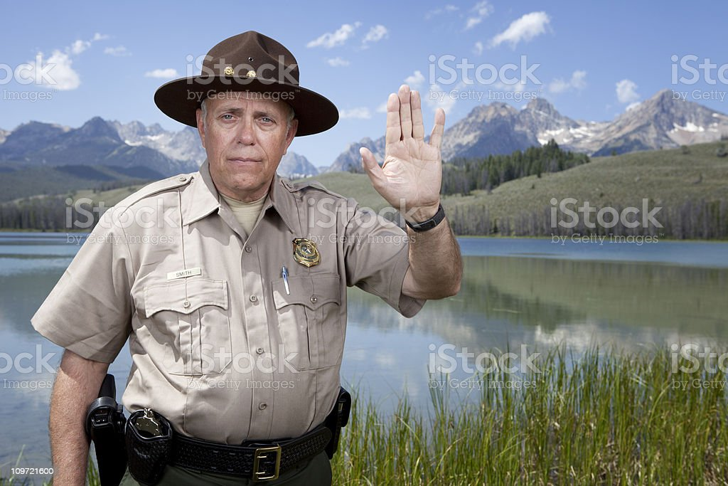 Park Ranger with Stop Gesture stock photo