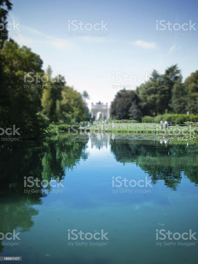 Park Sempione in Milan, Italy - tilt shift lens stock photo