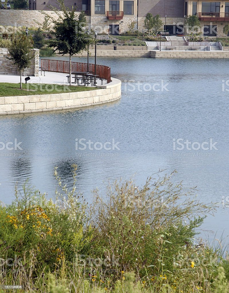 Park setting with pond. royalty-free stock photo