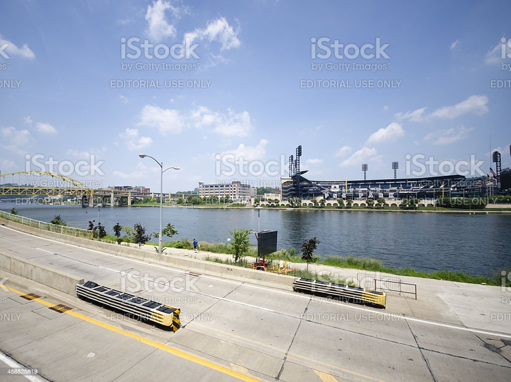 PNC Park Stadium in a sunny day and Allegheny river royalty-free stock photo