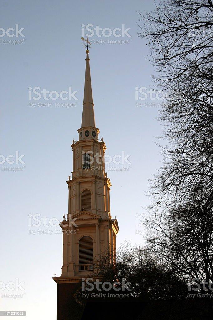 Park Street Church at Sunset stock photo