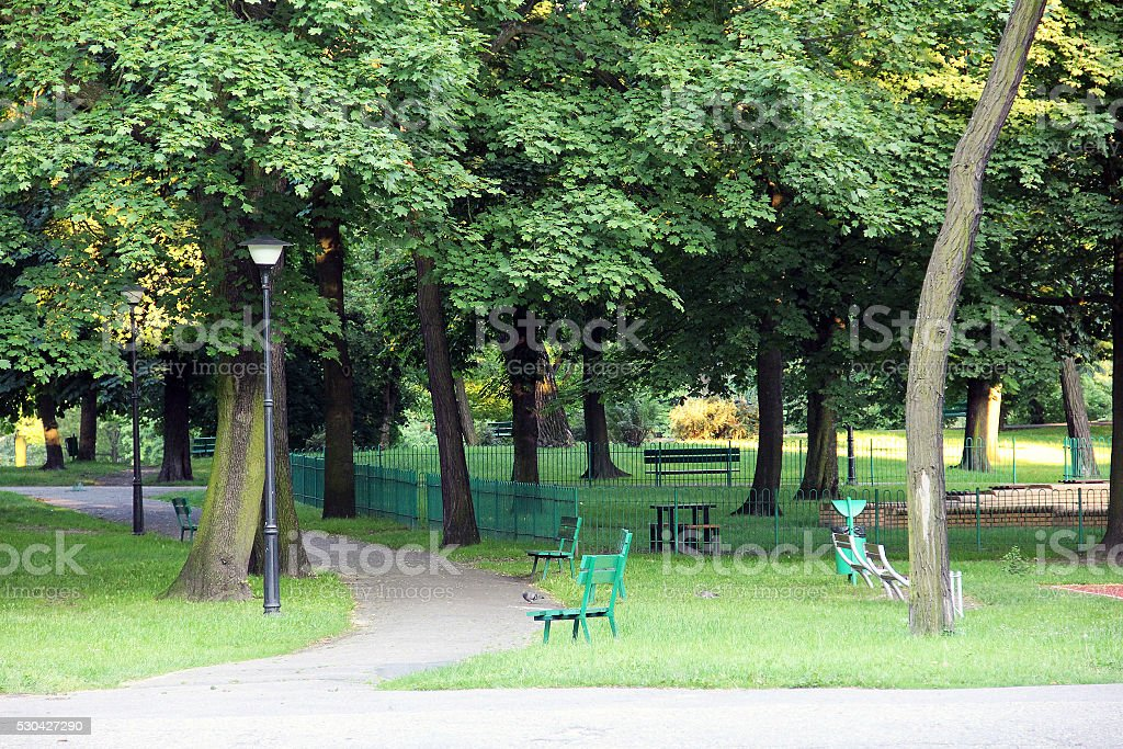 park, surrounded by a green landscape stock photo
