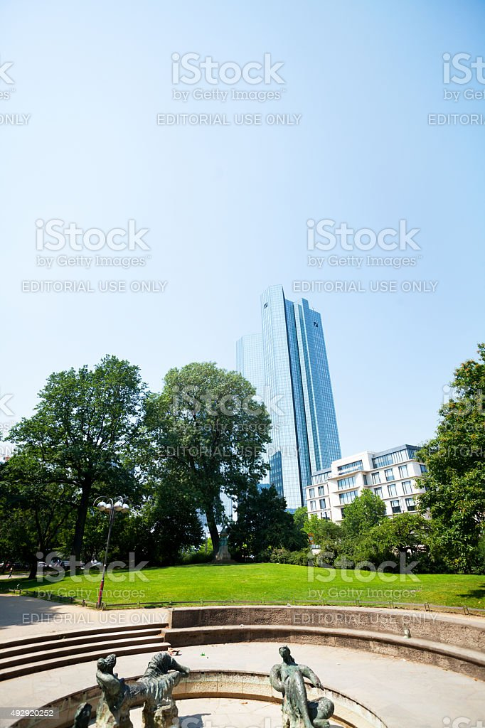 Park Taunusanlagen and Deutsche Bank Skyliners stock photo