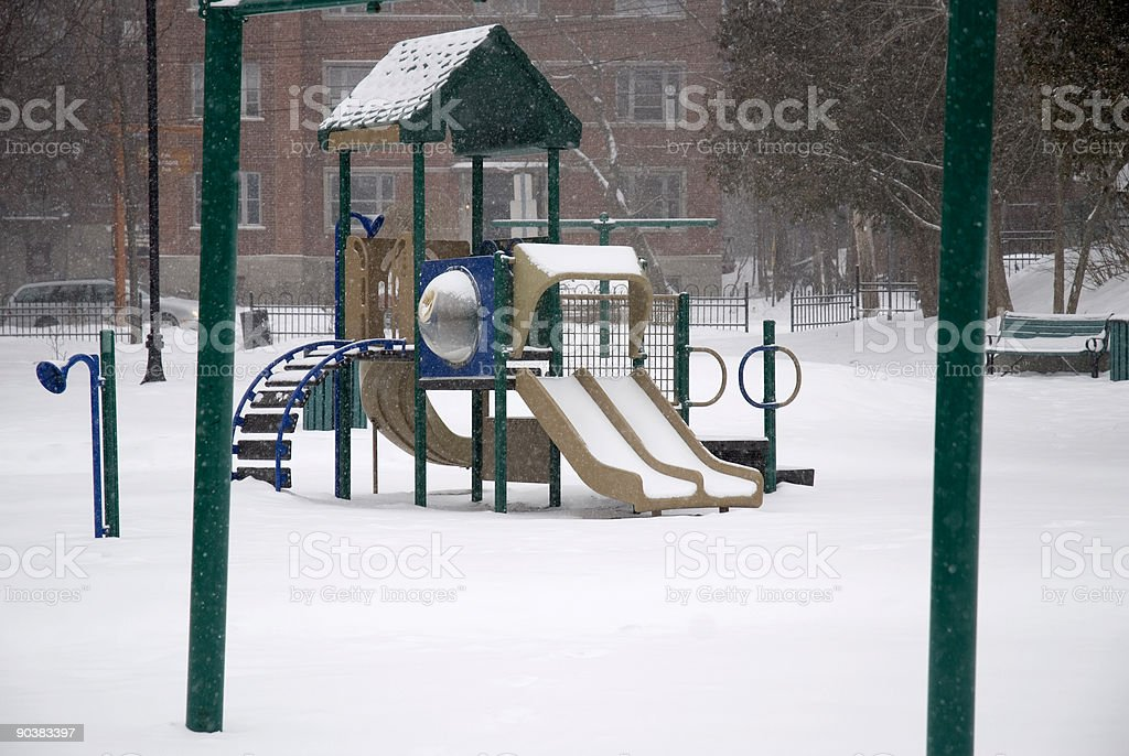 Park under the snow stock photo
