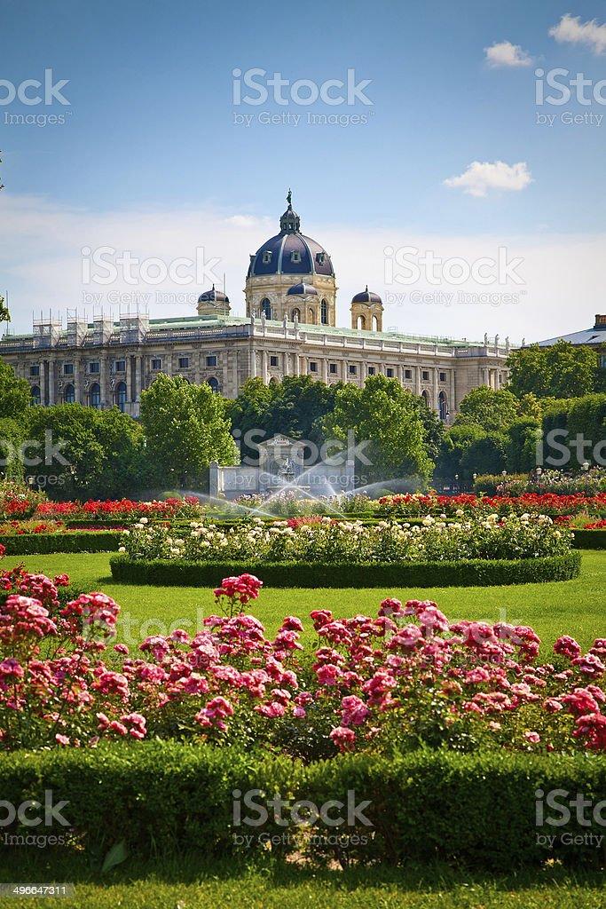Park Volksgarten in front of Hofburg, Vienna stock photo