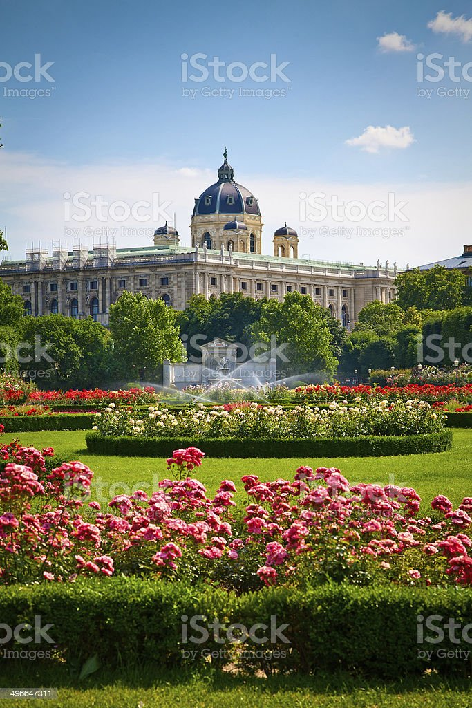 Park Volksgarten in front of Hofburg, Vienna stock photo