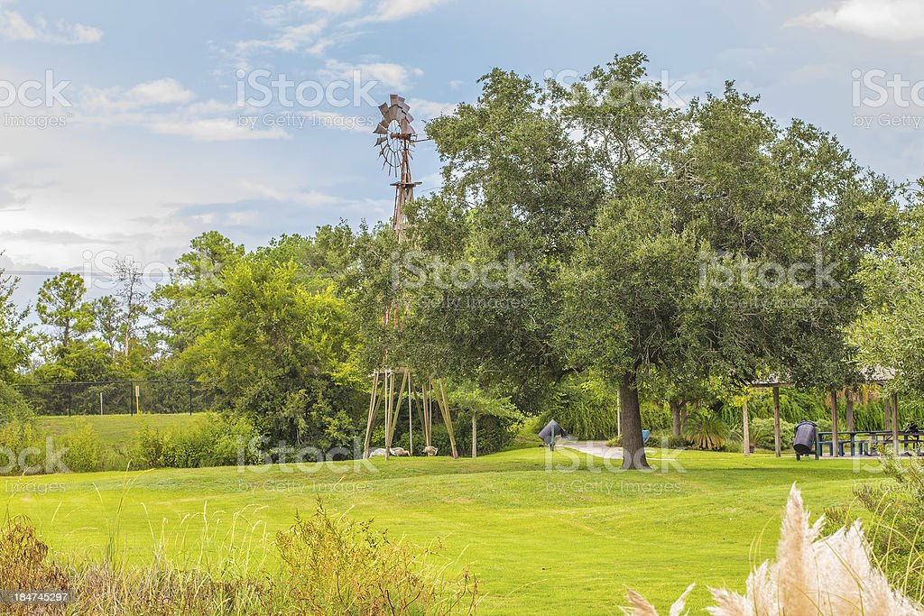 Park Windmill Scene royalty-free stock photo