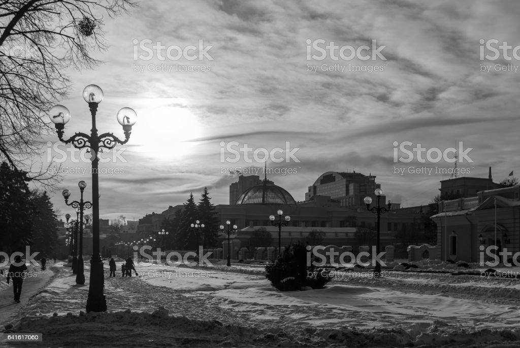 A park. Winter. Snow. Sunny morning. stock photo