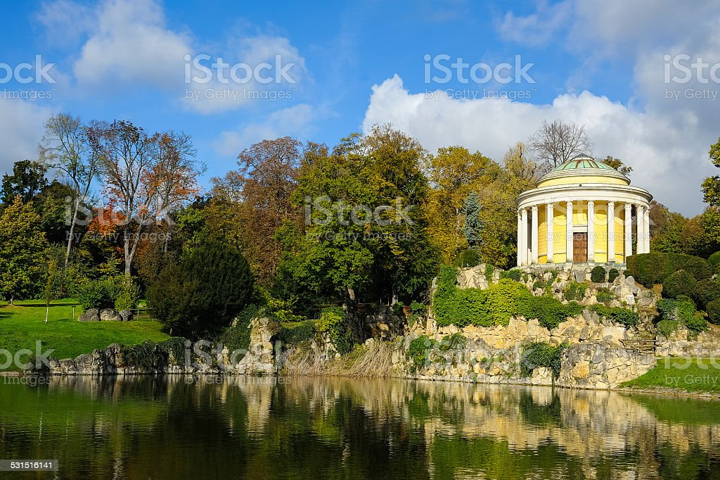 Park with a pond in Eisenstadt stock photo