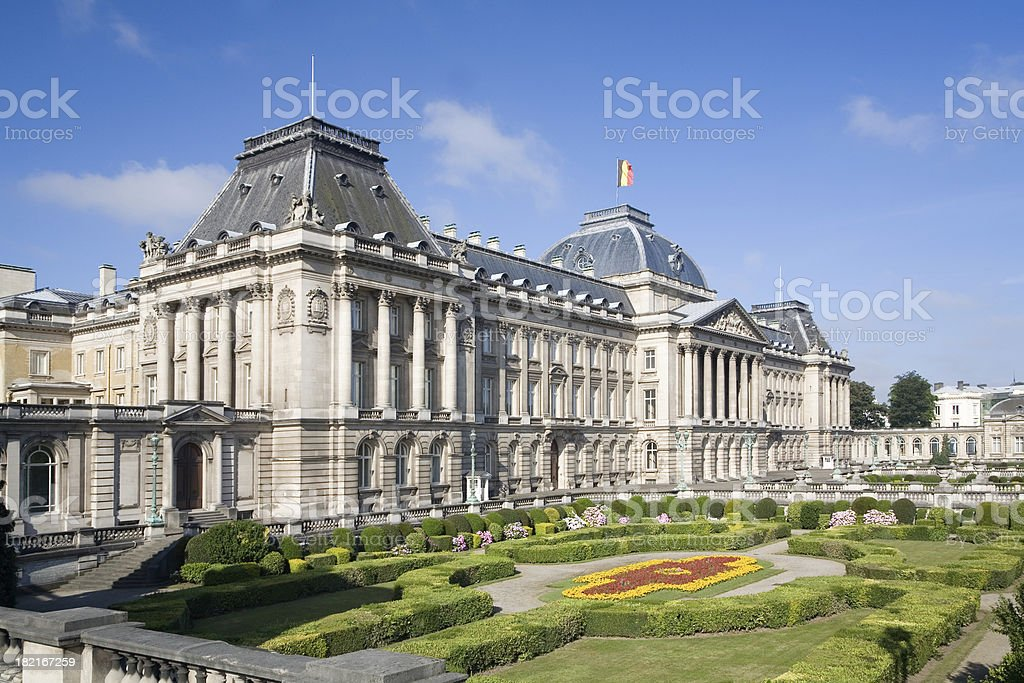 Park with Belgian Royal palace in Brussels royalty-free stock photo