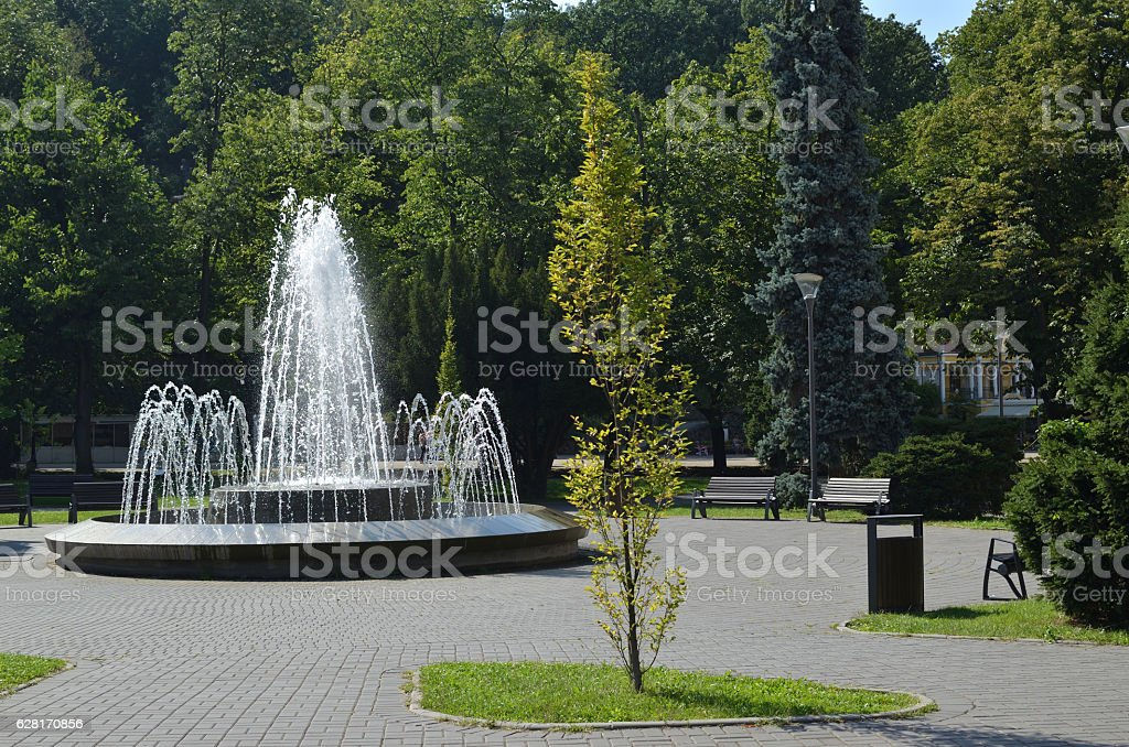Park with Fountain stock photo