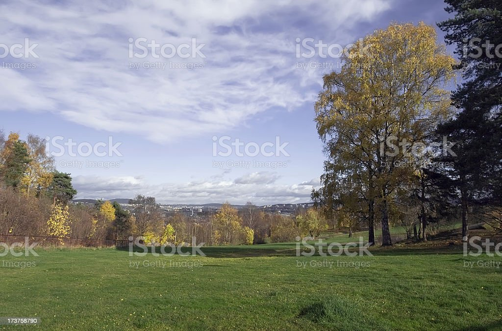 Park with green lawn in fall and view to Oslo royalty-free stock photo