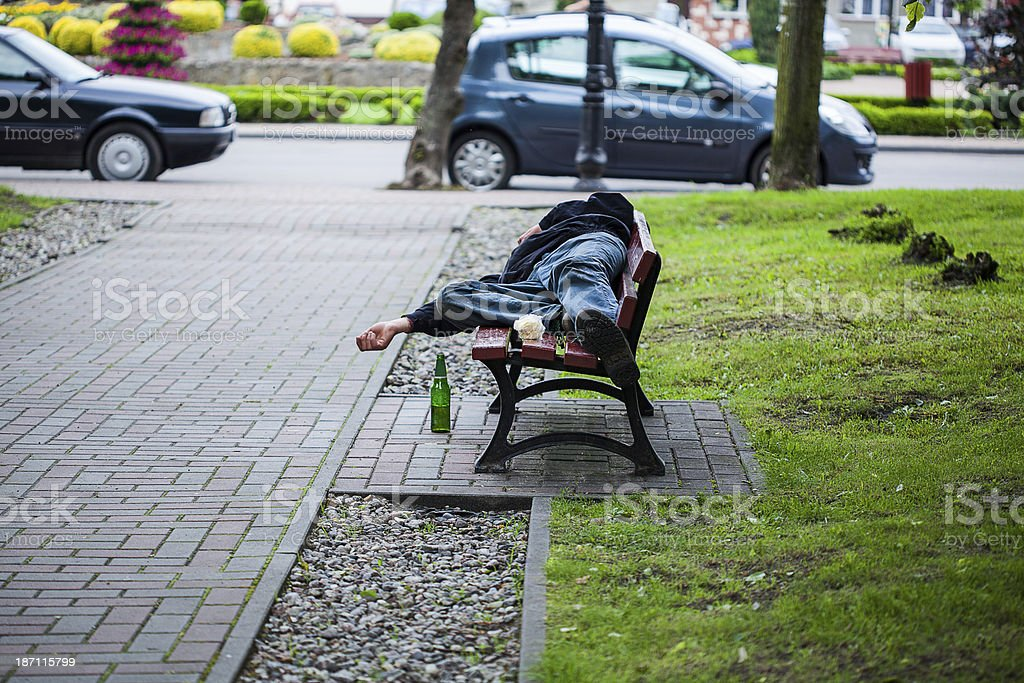 Park with homeless stock photo