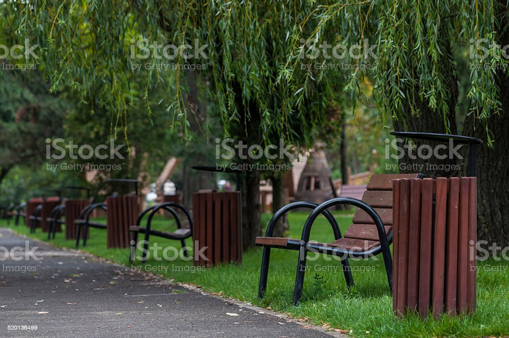 park with pathway, benches royalty-free stock photo