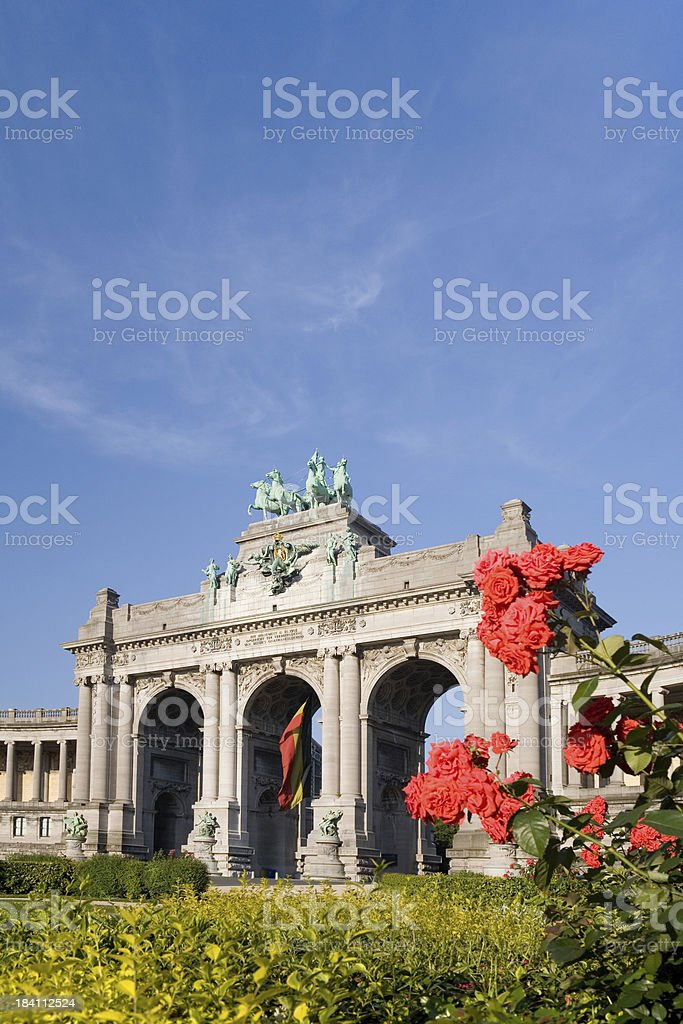 Park with the Triumphal Arch in Brussels stock photo