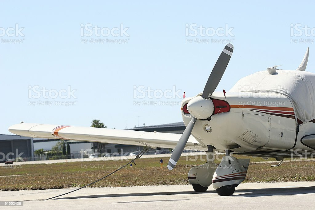 Parked airplane stock photo
