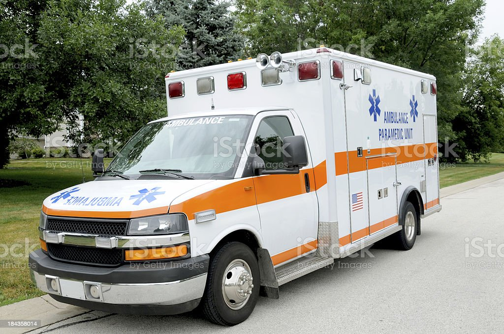 Parked Ambulance stock photo