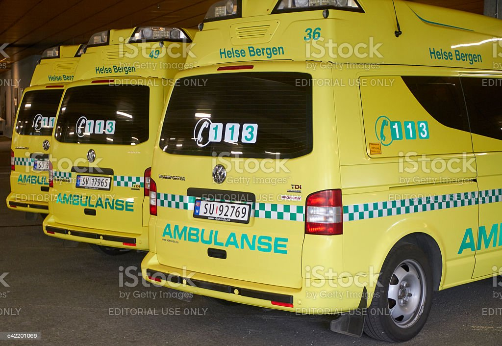 Parked ambulances stock photo