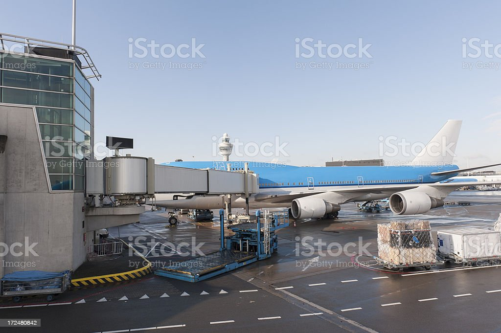 747 parked at schiphol airport stock photo