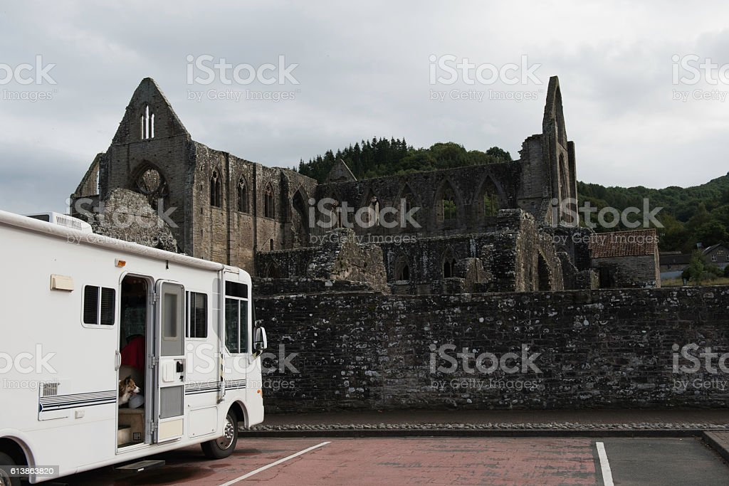 RV parked at Tintern Abbey stock photo