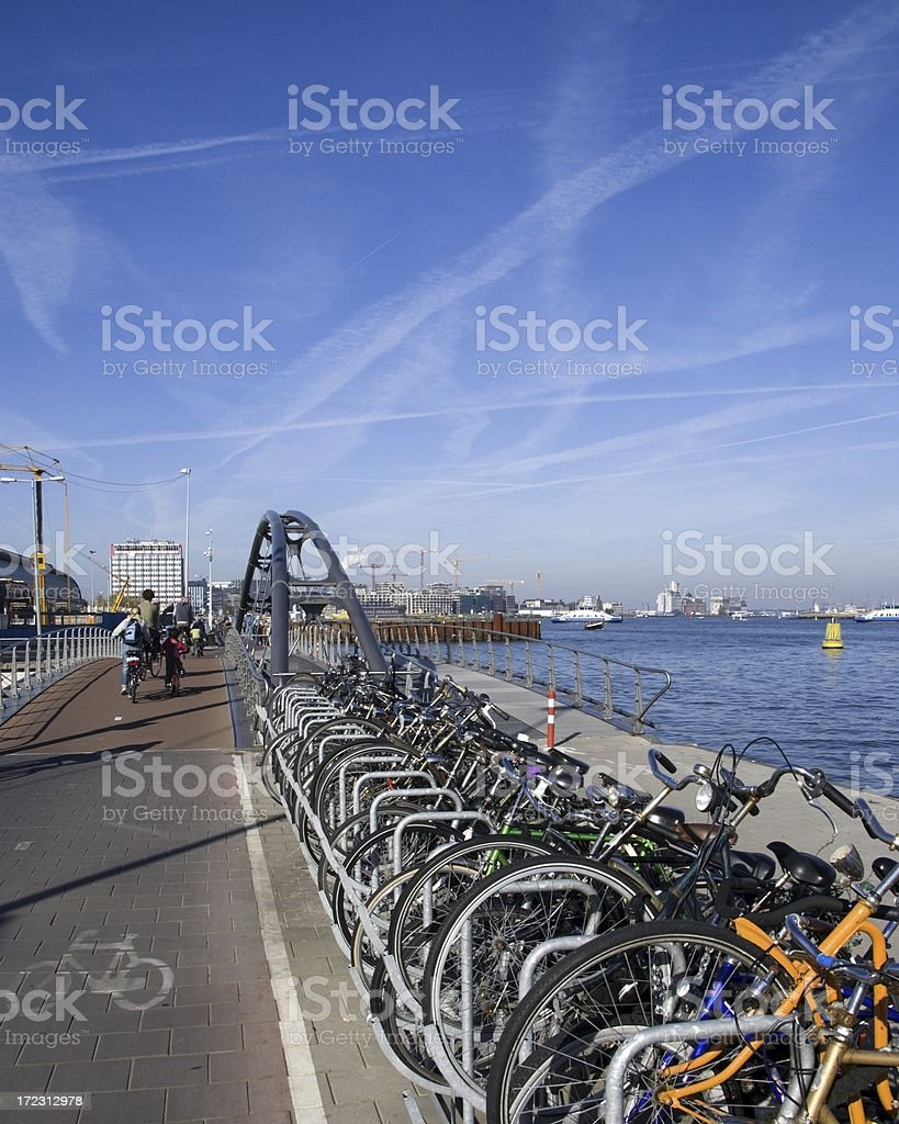 Parked bikes royalty-free stock photo