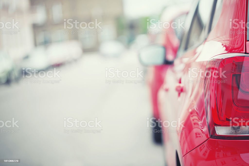 Parked car at roadside royalty-free stock photo