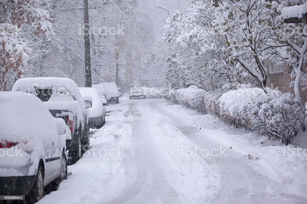 Parked cars covered with snow - snow storm stock photo