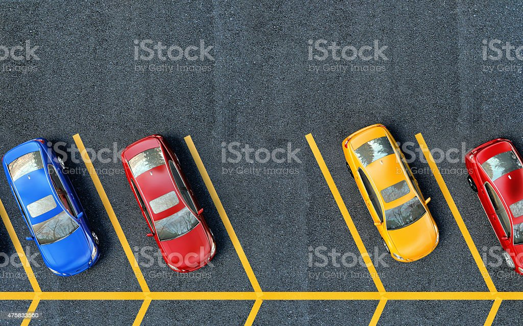 Parked cars on the parking. One place is free stock photo