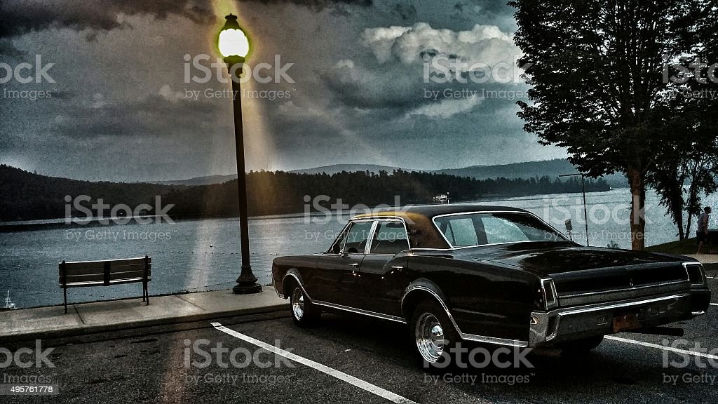Parked Classic Hot Rod, Lake, Lamp Post, Black and White stock photo