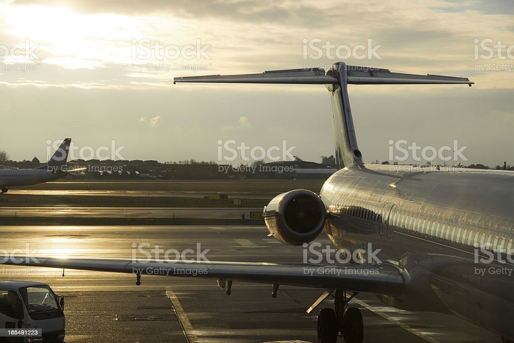 parked commercial airplanes royalty-free stock photo