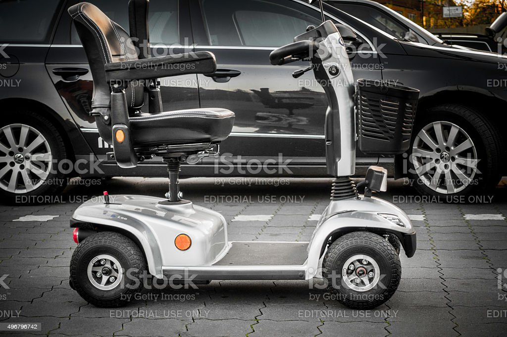 Parked electric scooter for senior people stock photo