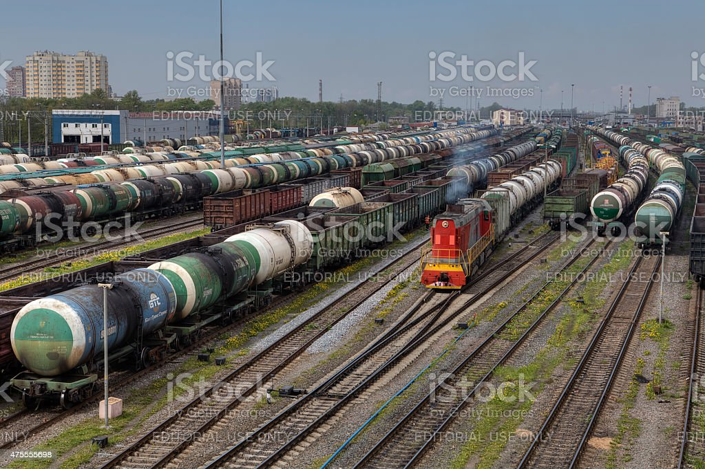 Parked freight trains railroad shunting yard, Saint Petersburg, Russia. stock photo