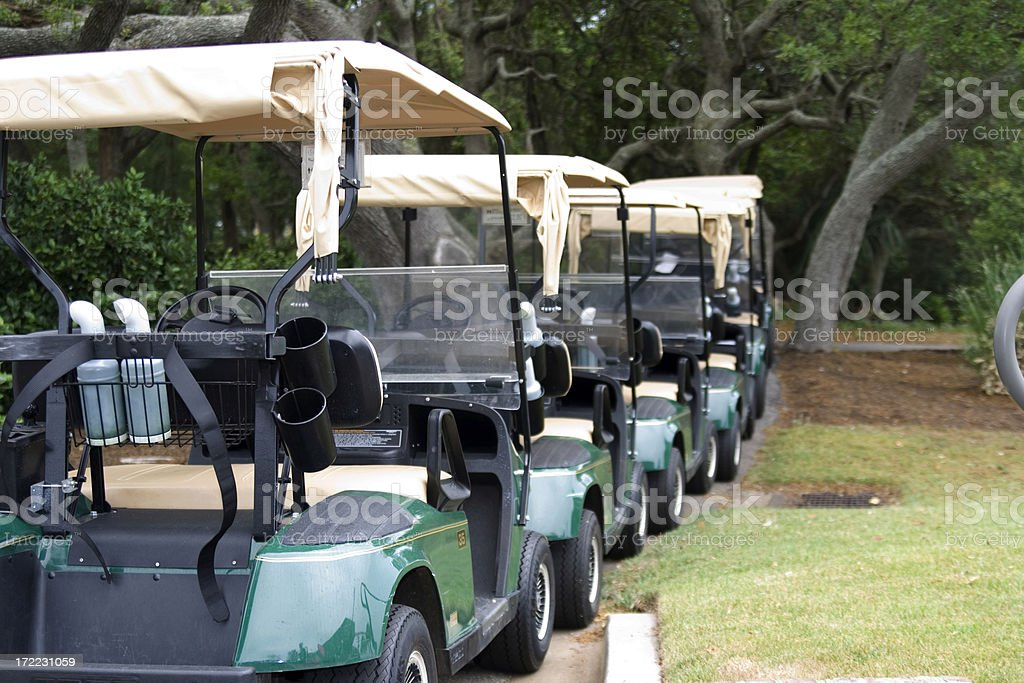 Parked Golf Carts royalty-free stock photo