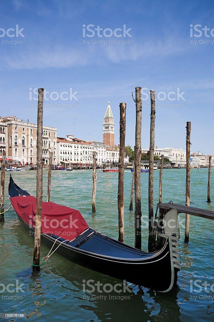 Parked gondolas in Venice, Italy royalty-free stock photo