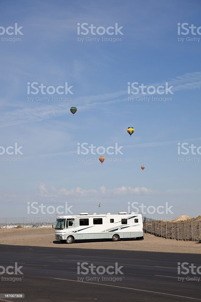 RV parked in Albuquerque stock photo