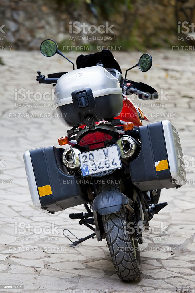 BMW F650 GS parked near The Yedidere Waterfall stock photo