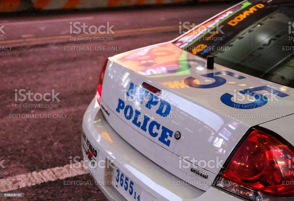 Parked NYPD vehicle at the roadside in New York City stock photo