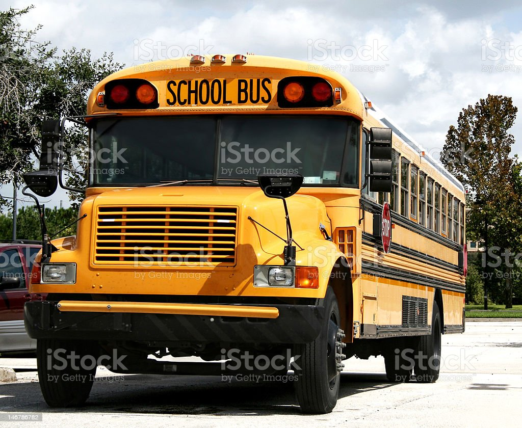 Parked Schoolbus royalty-free stock photo