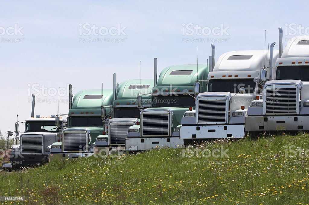 Parked Semi Truck Cabs royalty-free stock photo