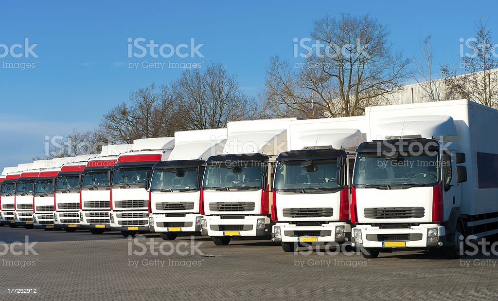 parked trucks royalty-free stock photo