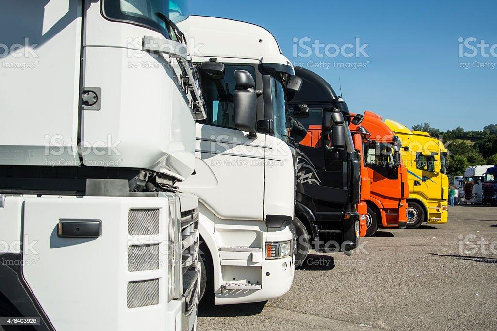 Parked trucks stock photo