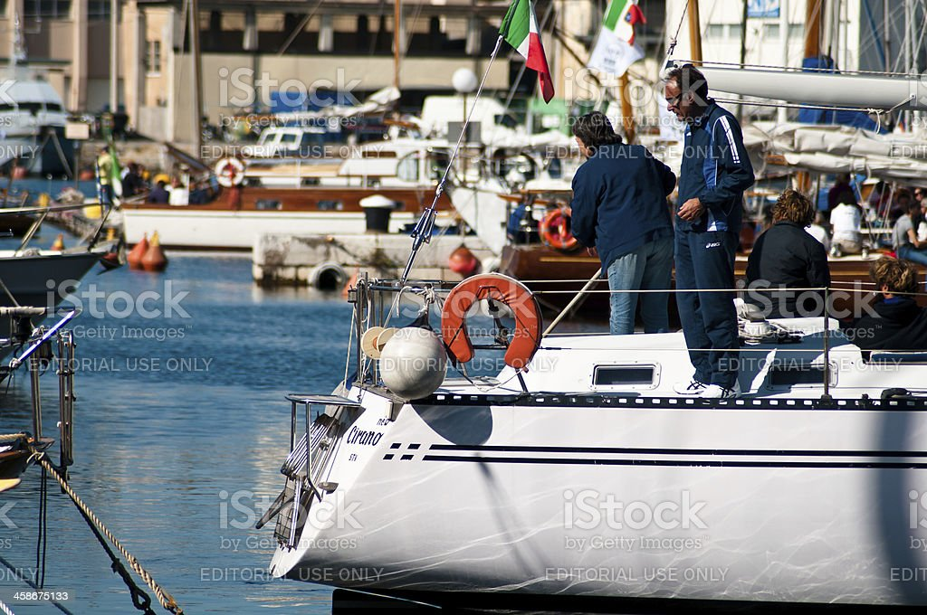 Parking a sailing boat in the pier of Trieste. royalty-free stock photo