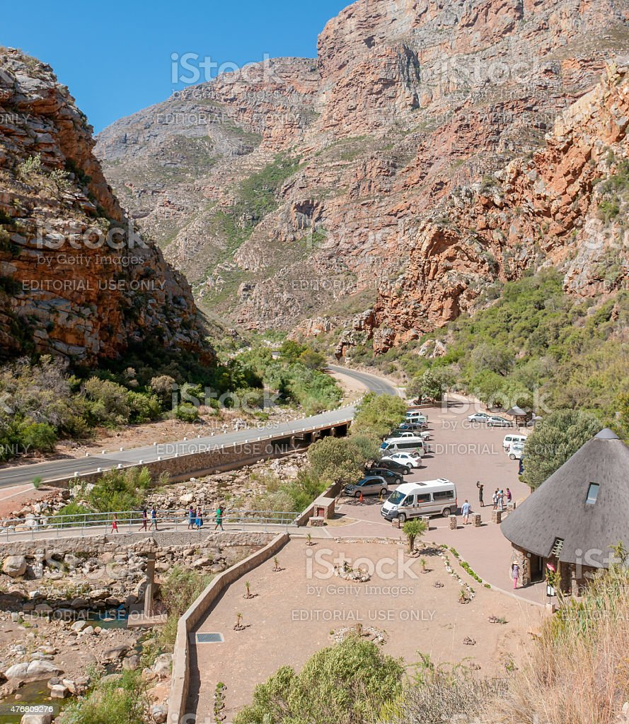 Parking and picnic area in Meiringspoort stock photo