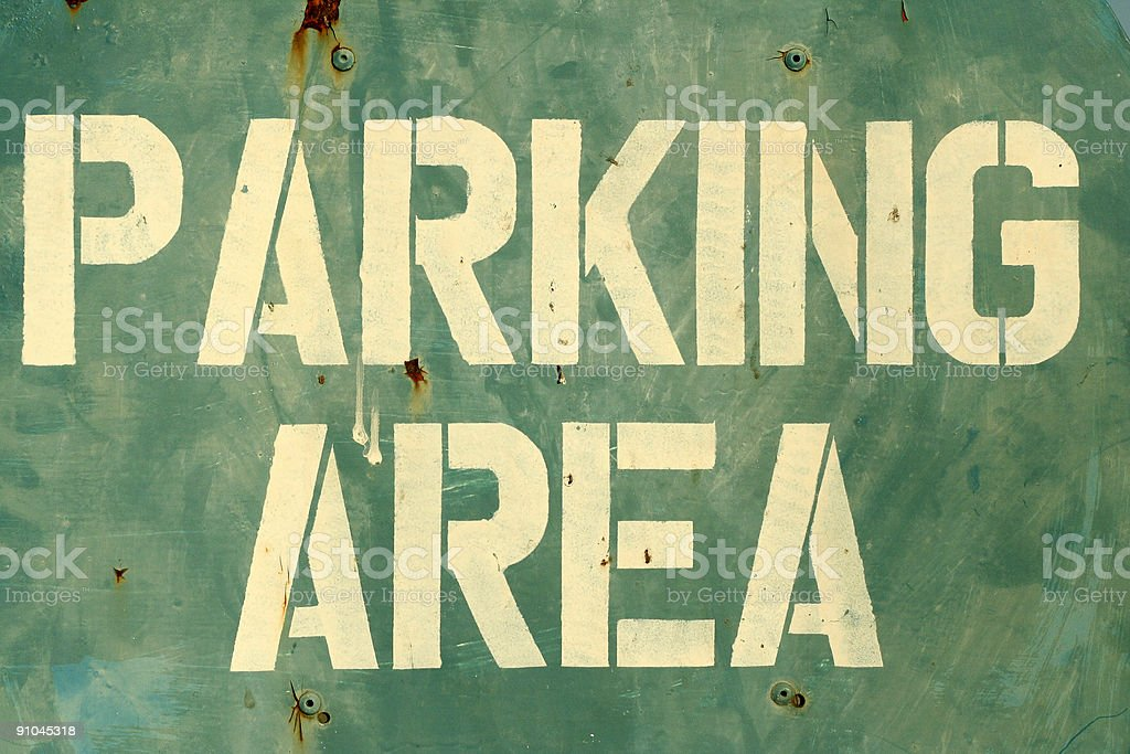 parking area sign stencilled letters royalty-free stock photo